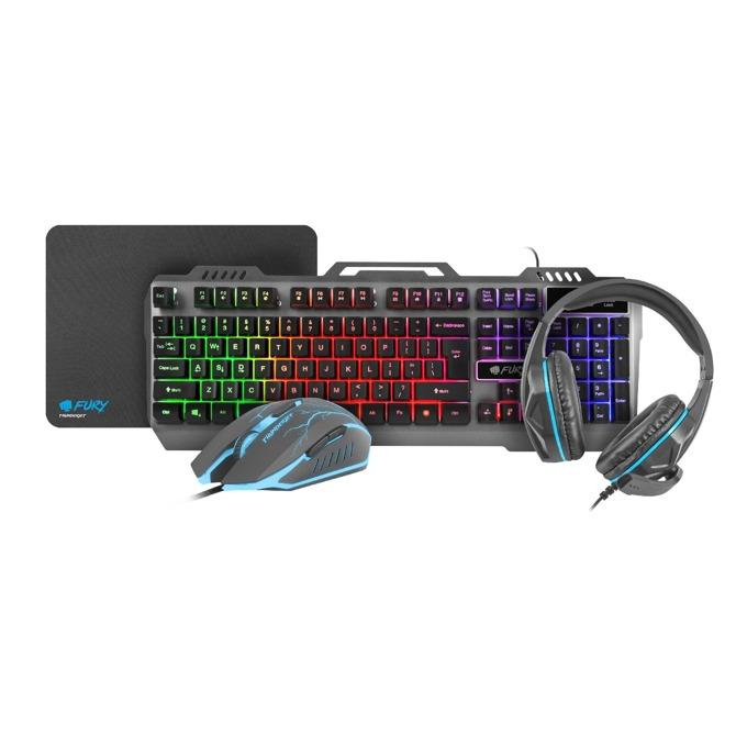 Fury Thinderjet Gaming Combo NFU-1217, гейминг, клавиатуа/мишка/пад и слушалки, 2400 dpi, микрофон, подсветка, черни, USB image