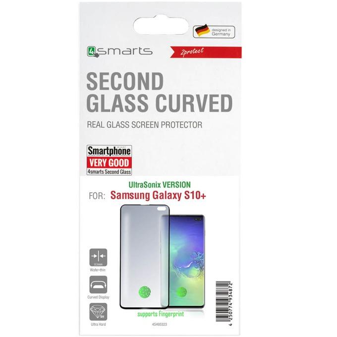 Протектор от закалено стъкло /Tempered Glass/, 4Smarts 4S493323, за Samsung Galaxy S10 Plus, извит, черна рамка image