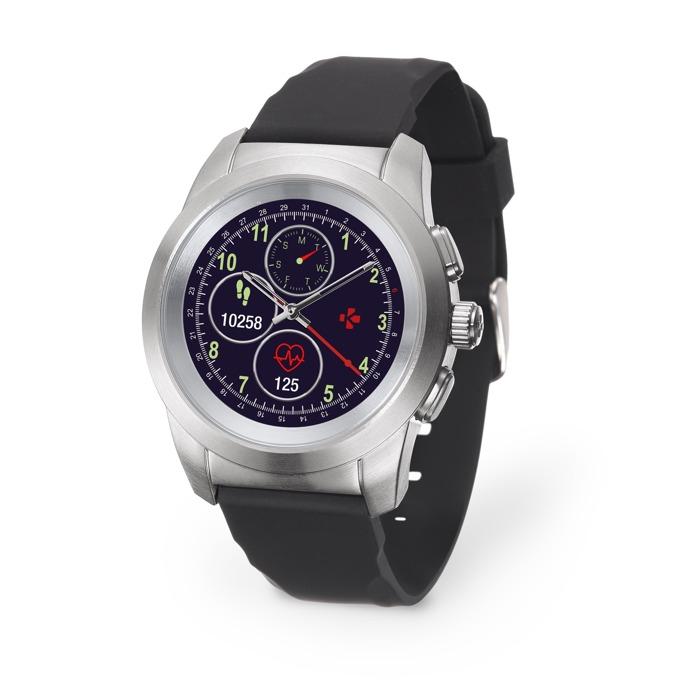 """Хибриден смарт часовник MyKronoz ZeTime Original, механични стрелки, 1.22"""" (3.09 cm) TFT сензорен дисплей, Bluetooth 4.2, до 3 дни време за работа в режим Smart, водоустойчив, черен-сребрист image"""
