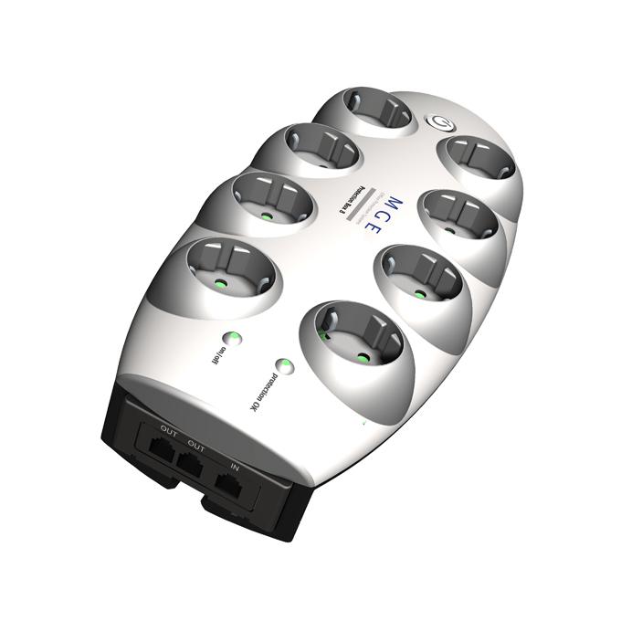 Разклонител Eaton Protection Box 8 Tel@ + TV, 8 гнезда, защита от токови удари, 1.8m., с ключ image