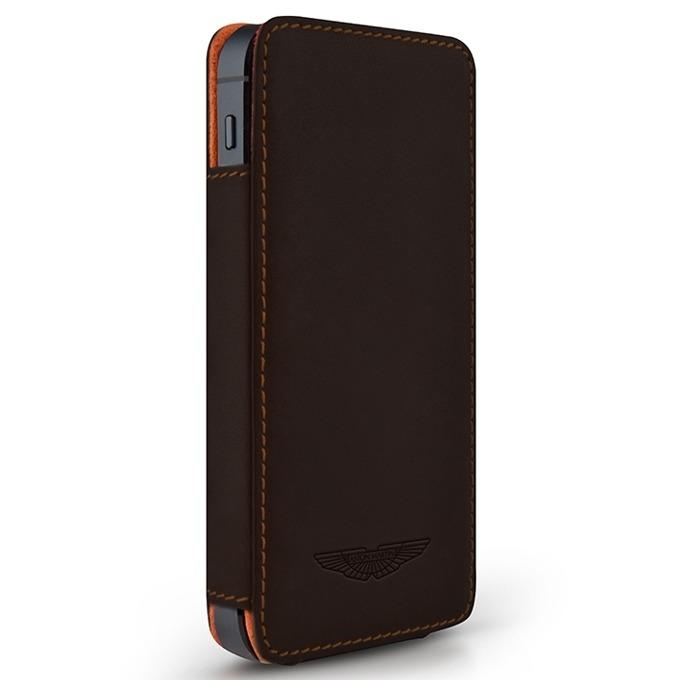 Калъф за iPhone SE (5S), flip wallet, кожa, Beyza, Aston Martin Slim TP Series, тъмнокафяв image