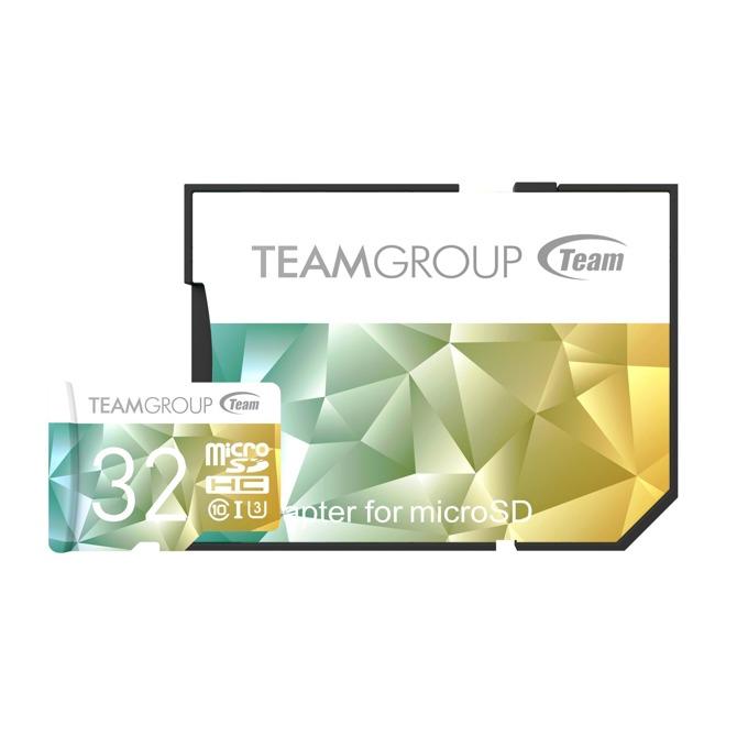 32GB microSDHC, Team Group Color Card II, Class10, UHS-I U3, скорост на четене 90MB/s, скорост на запис 45MB/s, с SD адаптер image