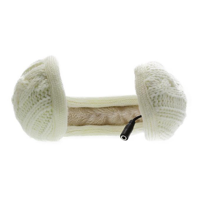 KitSound Earmuffs Knitted, бели, с плетени ушанки image