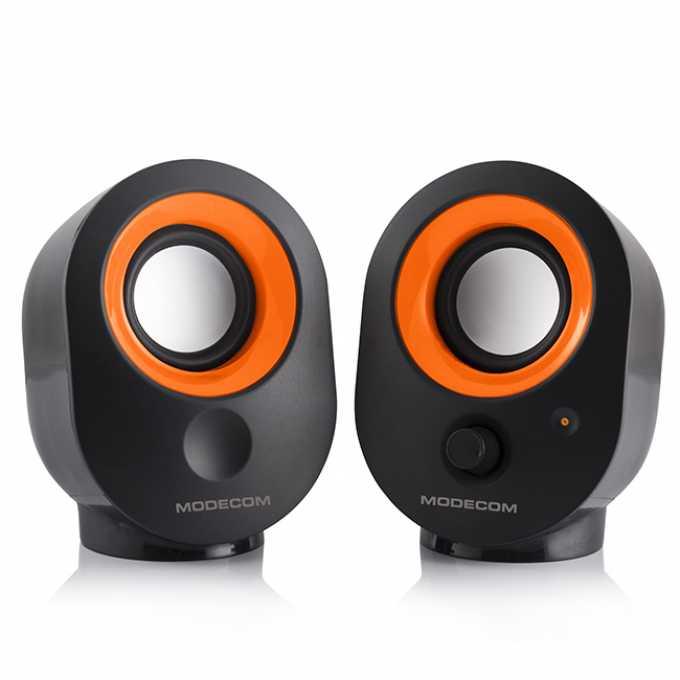 Тонколони Modecom MC-XS05, 2.0, 4W , 3.5mm jack, USB, черно и оранжево image