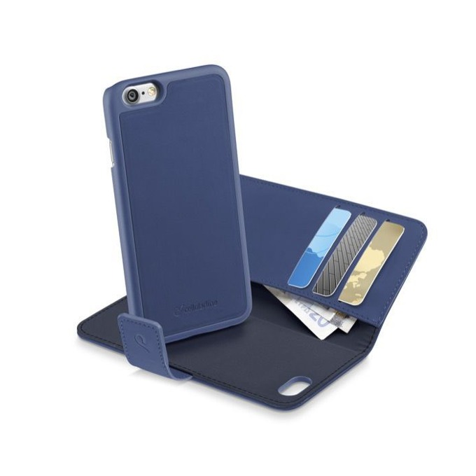 Калъф за Apple iPhone 7, отвараяем, еко кожа, Cellular Line Combo 2 in 1, с джоб, сив/син image