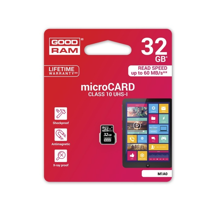 32GB microSDHC, Goodram M1A0-0320R11, Class 10 UHS-I, скорост на четене 60 MB/Sec, скорост на запис 10 MB/Sec image