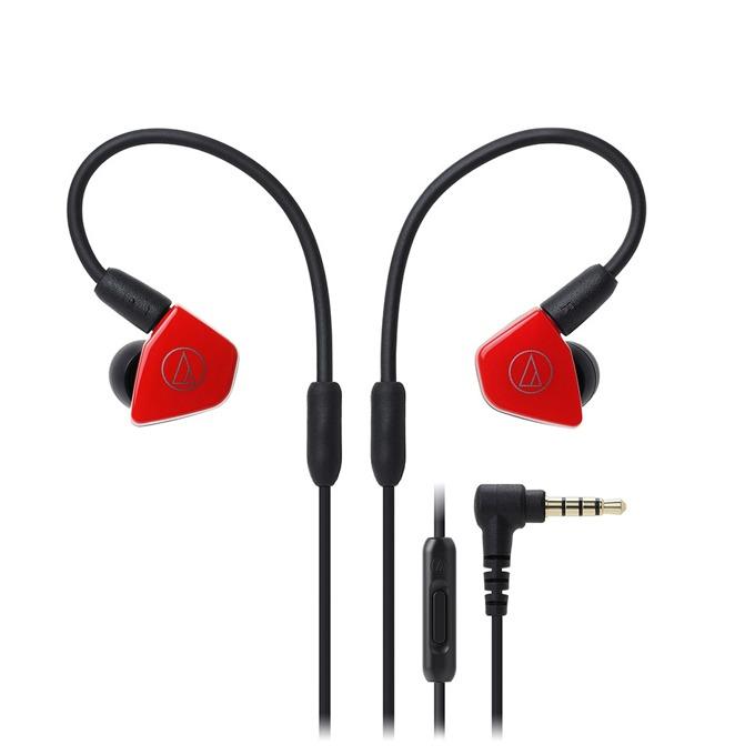 """Слушалки Audio-Technica ATH-LS50iS, тип """"тапи"""", микрофон, сваляеми накрайници, бързи бутони, червени image"""