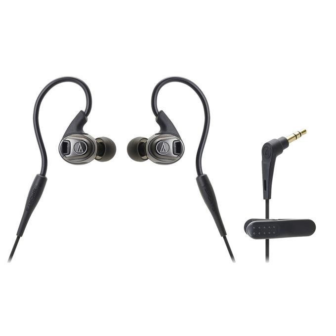 "Слушалки Audio-Technica ATH-AR3BT, тип ""тапи"", 3.5mm позлатен жак, IPX5 водозаща, 1.2м кабел, черни image"