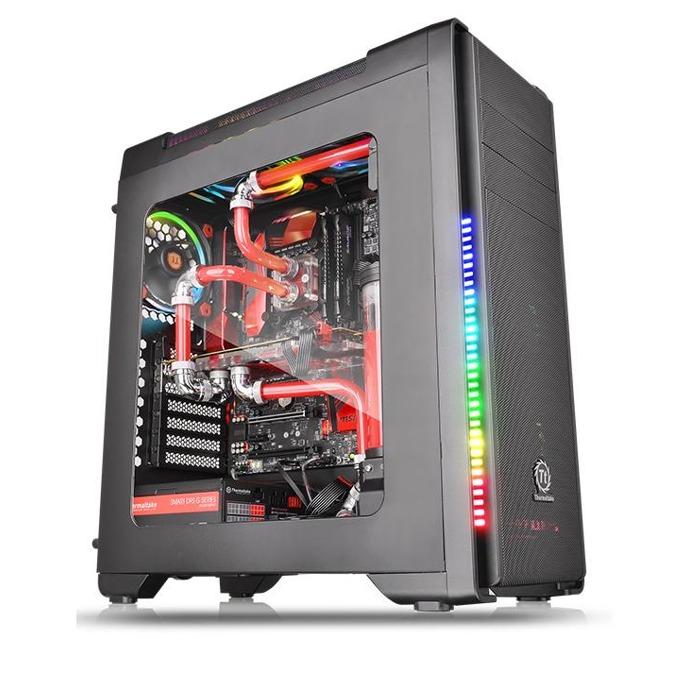 Кутия Thermaltake Versa C21 RGB, ATX/mATX/miniITX, 1x USB 3.0, RGB подсветка, прозорец, черна, без захранване image