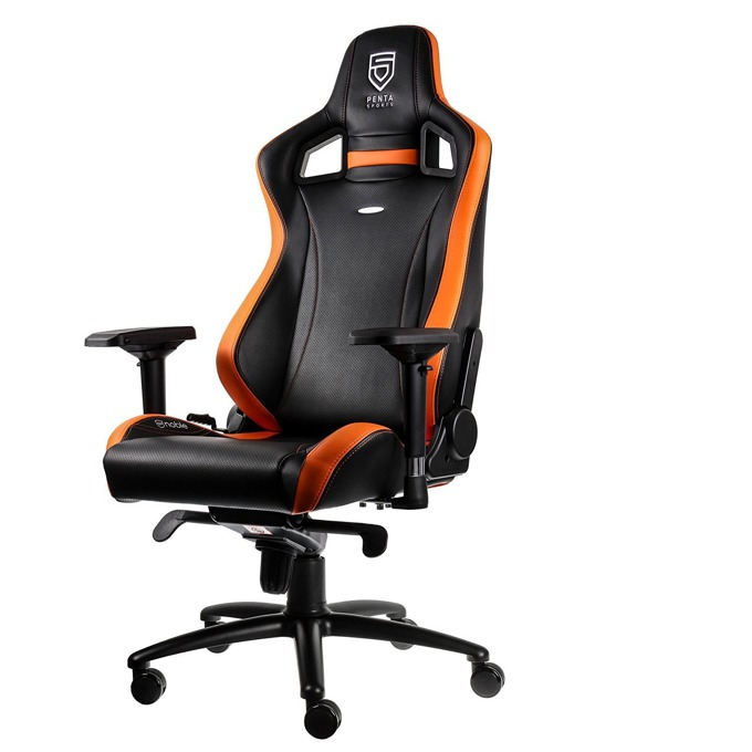 Геймърски стол noblechairs EPIC PENTA Sports Edition, кожен, черен/оранжев image