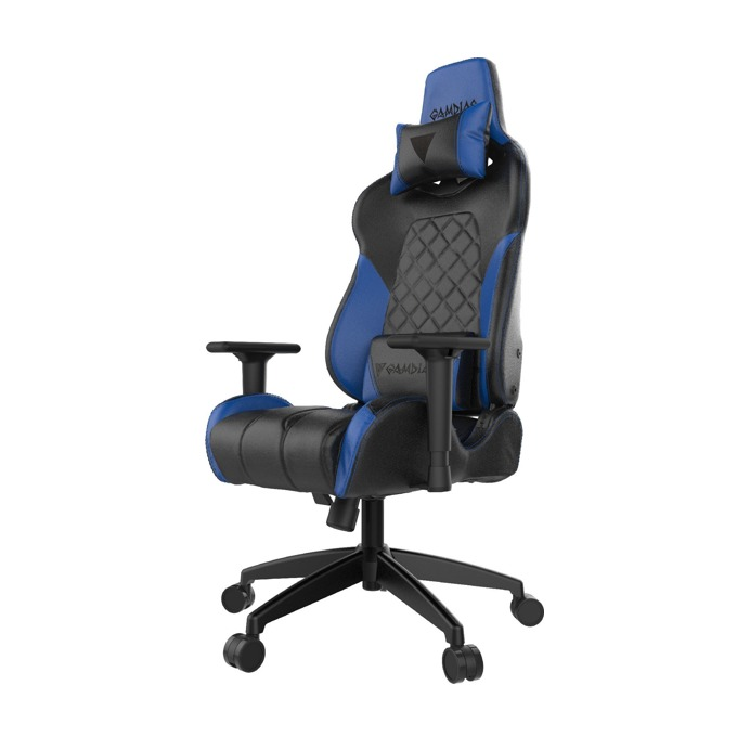 Геймърски стол Gamdias Achilles E1-L, кожа, до 200kg, RGB подсветка, черен/син image