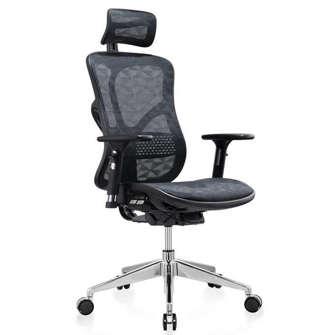 Работен стол RFG TECH@STYLE (ON4010200098), меш, 250 кг. максимално натоварване, алуминиева база, газов амортисьор, черен image