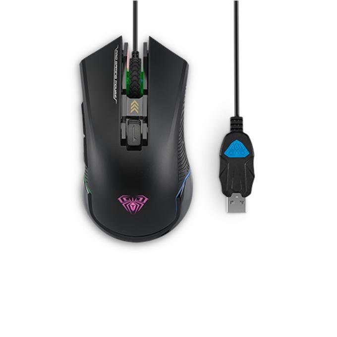 Мишка Aula Nomad, оптична (2000 dpi), USB, подсветка, черна image