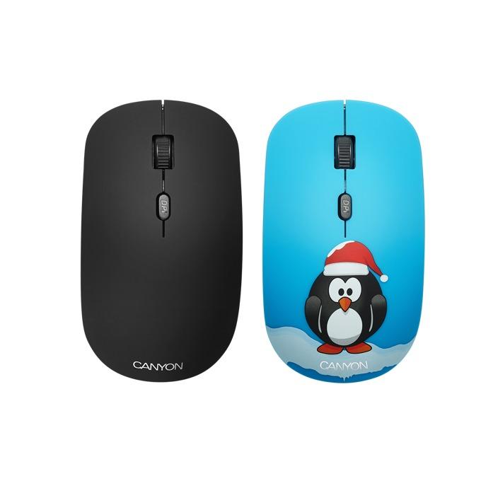 Мишка Canyon, оптична (1600 dpi), безжична, 2x покрития, USB, черна image