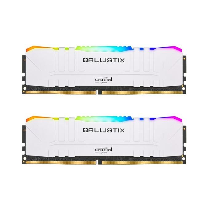 Памет 16GB (2x 8GB) DDR4 3200MHz, Crucial Ballistix RGB BL2K8G32C16U4WL, 1.35V, бели image