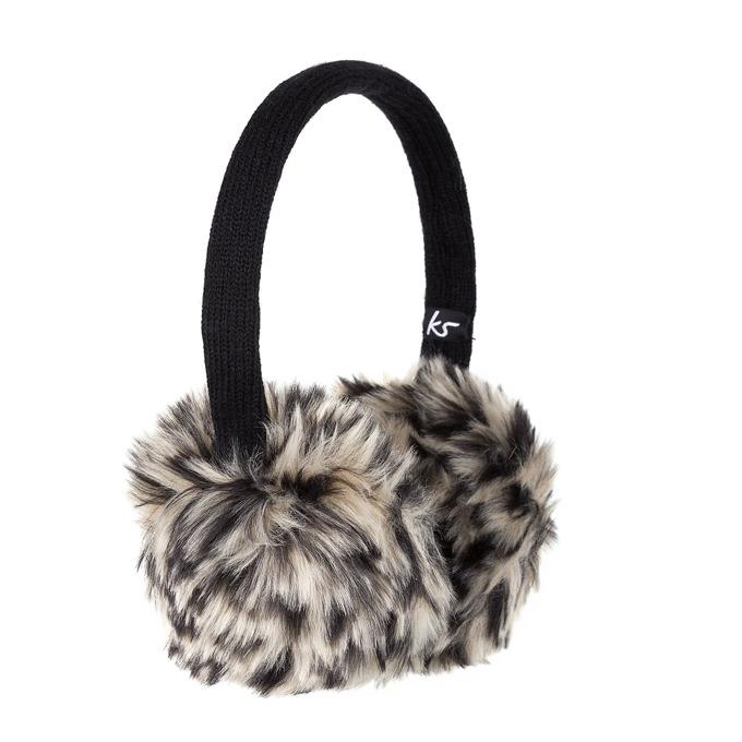 Слушалки KitSound Leopard Fur Earmuffs, черни, с ушанки image