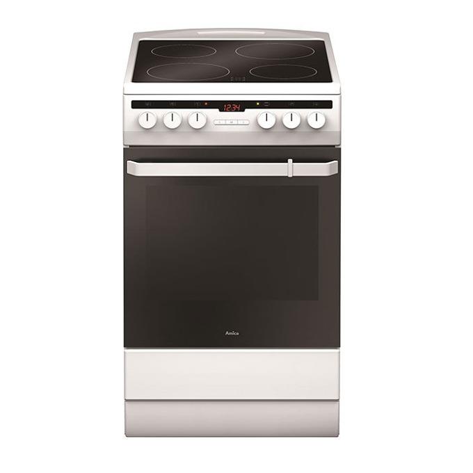 Готварска печка Amica 508CE2.30EHTA, ток, клас А, 62 л. обем, 4 нагревателни зони, 8 функции на фурната, бяла image
