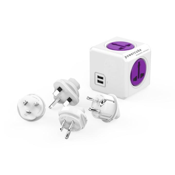 Разклонител Allocacoc Power Cube Universal 10553PP, 4 гнезда, 2x USB, приставки за др. държави, защита от деца, бял/лилав image