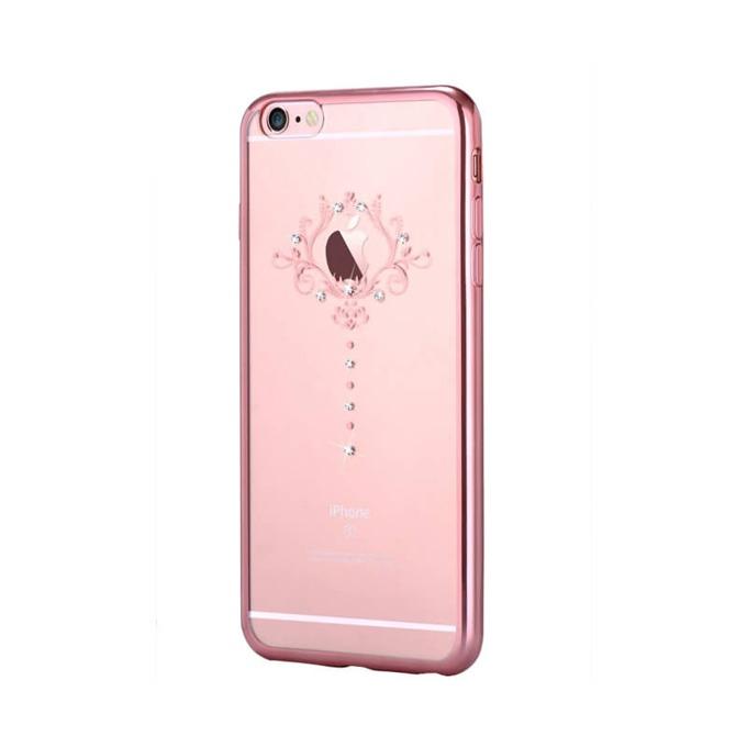 Силиконов протектор (с кристали Сваровски) Devia за Apple iPhone 6 и iPhone 6S, розово злато image