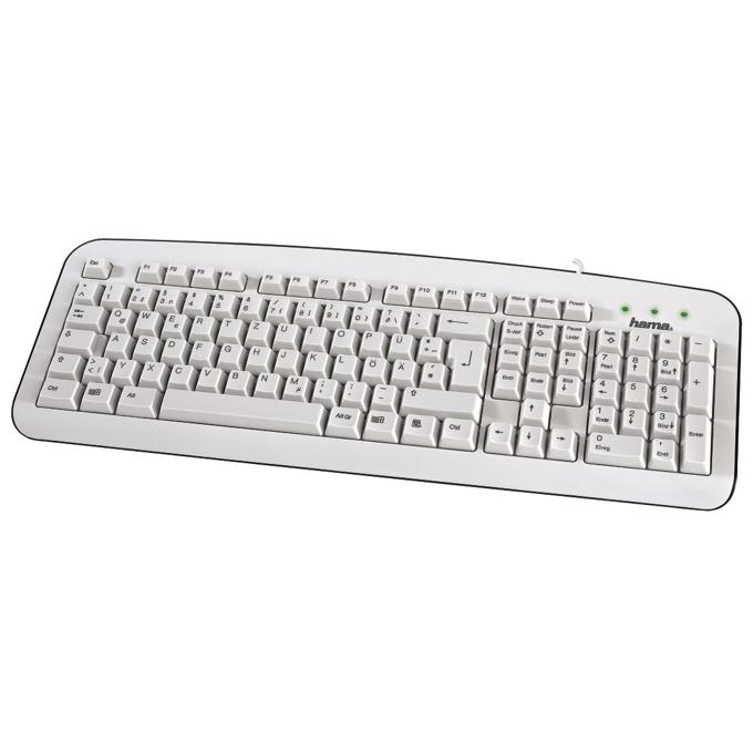 Клавиатура HAMA K210, бяла, USB image