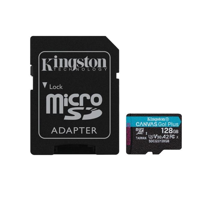 Карта памет 128GB MicroSDXC с адаптер, Kingston Canvas Go! Plus, Class 10 UHS-I, скорост на четене 170MB/s, скорост на запис 90 MB/s image