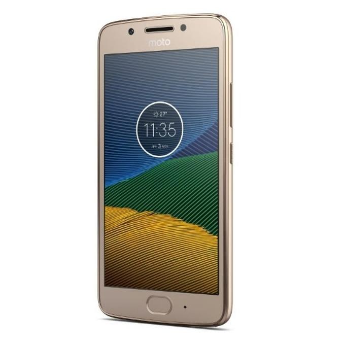 "Motorola Moto G5 (златист), поддържа 2 sim карти, 5"" (12.7 cm) Full HD дисплей, осемядрен Snapdragon 430 1.4 GHz, 2GB RAM, 16GB Flash памет (+microSD слот), 13.0 & 5.0 Mpix camera, Android, 145g image"