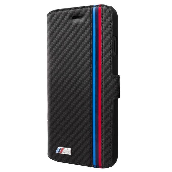 Калъф Apple iPhone X, отваряем, най-висок клас синтетична кожа, BMW M Sport Carbon Effect Book Case, черен image