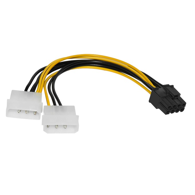 Захранващ кабел Makki MAKKI-CE317-0.15m, от PCIe 8pin(ж) към 2x Molex 4pin(м), 0.15m image