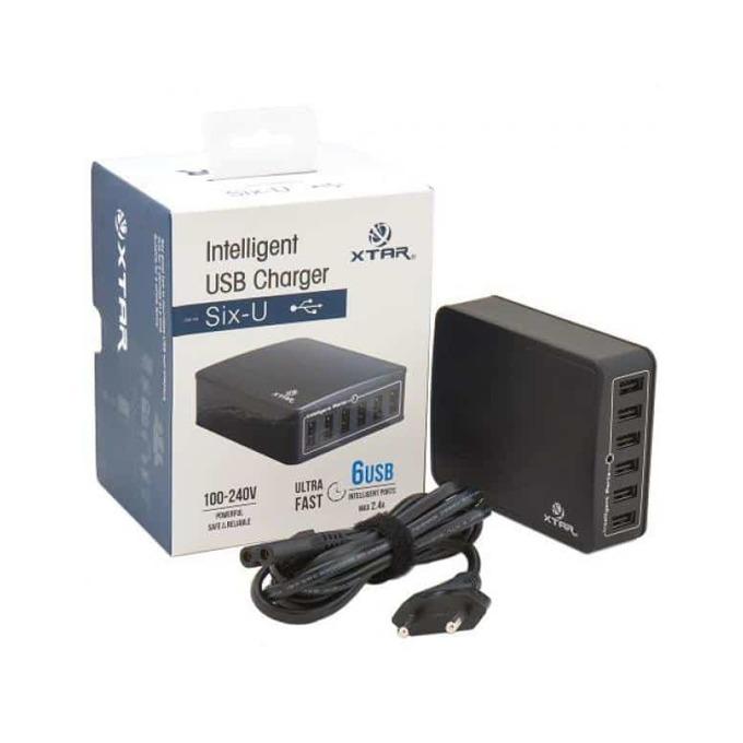 Зарядно устройство Xtar SIX-U U1, от контакт към 6x USB-A(ж), 2.4A, 45W, черно image