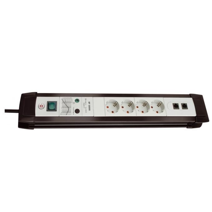 Разклонител Brennenstuhl Premium-line, 4 гнезда, 2x RJ45, 3m кабел, черен/сив image