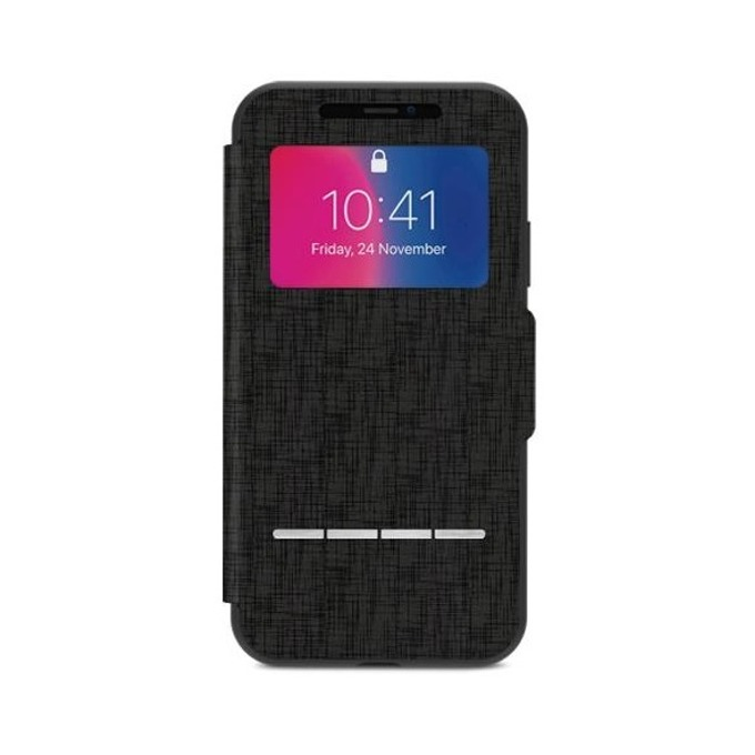 Калъф Apple iPhone X, отваряем с прозорче, термополиуретан, Moshi SenseCover 99MO072010, черен image