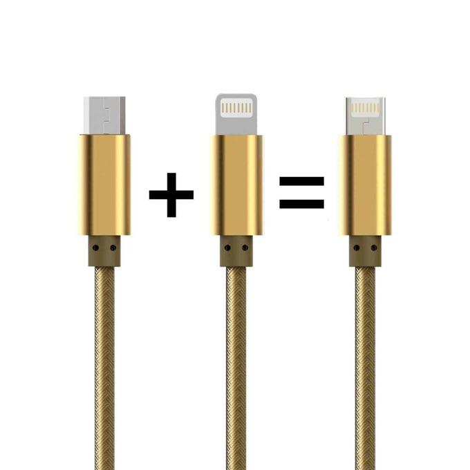 Кабел LDNIO, от USB A(м) към Micro USB-B (м) и Lighting, 1m, с оплетка, златист image
