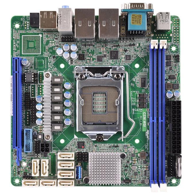Дънна платка за сървър ASRock Rack C236 WSI, LGA1151, поддържа DDR4 ECC UDIMM, 2x LAN1000, 8x SATA3 6.0Gb/s(RAID 0/1/5/10), 4x USB 3.0, miniITX image