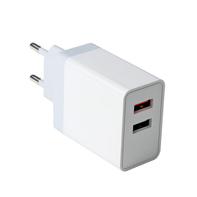 Зарядно устройство VCOM M050, от контакт към 2x USB A(ж), 12V-24V, 1.5A-3A, Quick Charge 3.0, бяло image
