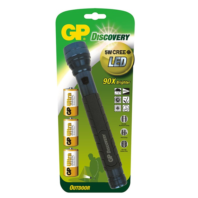LED фенер GP LOE309AU, батерия 3 x R14, 5W, водонепропускваем, удароустойчив  image