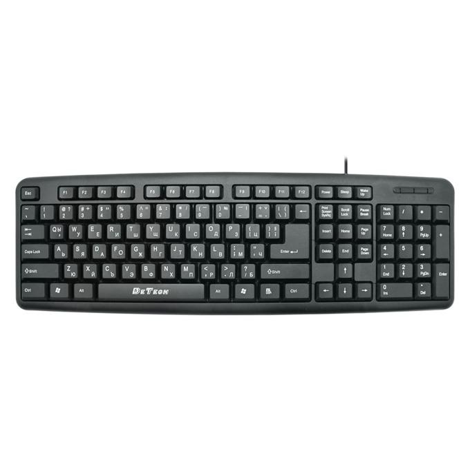 Клавиатура DeTech DE6083, кирилизирана, черна, PS2 image