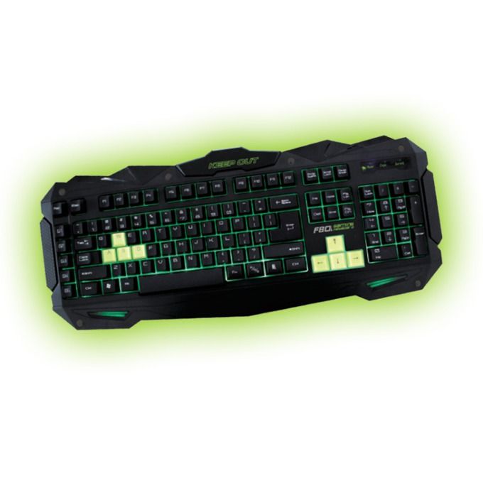 Клавиатура KEEPOUT F80, гейминг, 12 клавиша за мултимедиен контрол, 5 програмируеми клавиша за макроси, черна, USB image