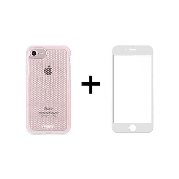 Протектор от закалено стъкло /Tempered Glass/ в комплект с калъф Remax Crystal, за Apple iPhone 7/8, смартфон, бял image