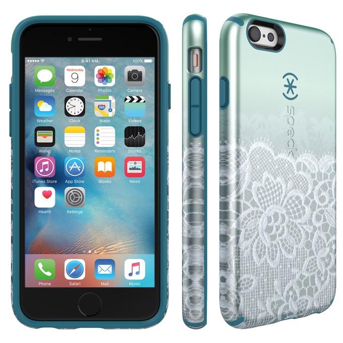 Страничен протектор с гръб Speck за iPhone 6S, син с щампа image