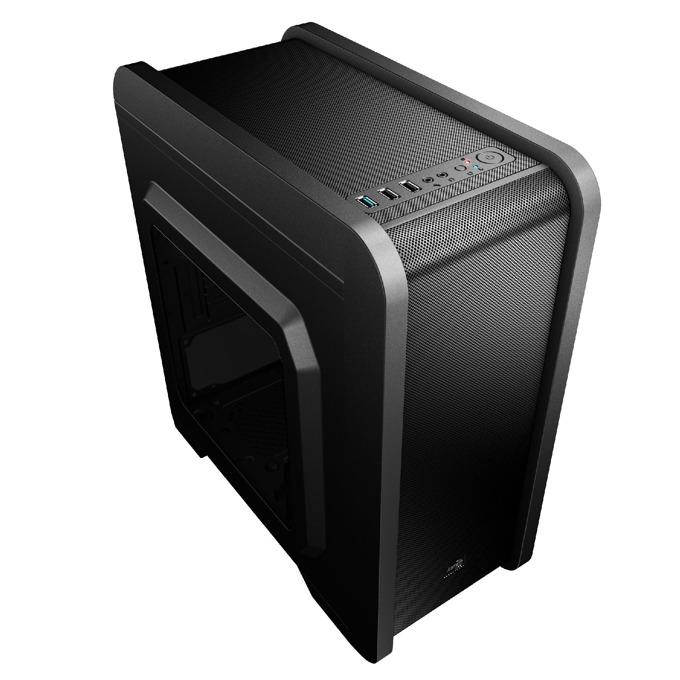 Кутия AeroCool QS-240, Micro-ATX/Mini-ITX, USB 3.0, прозорец, 1x 120mm вентилатор, Mini Tower, черна, без захранване image