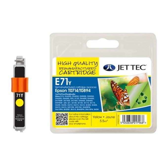Глава за Epson T071440 - Yellow - Неоригинална - Jet Tec - Заб.: 5.5 ml image