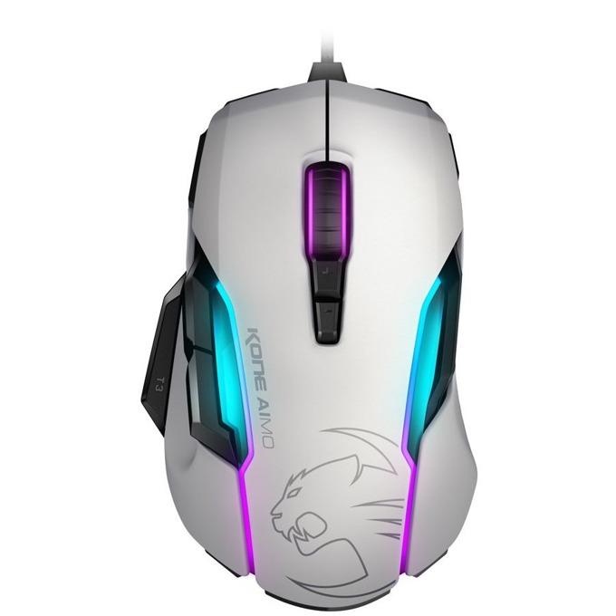 Мишка ROCCAT Kone Aimo, оптична (12000 dpi), USB, бял, подсветка с различни цветове, ергономичен дизайн image