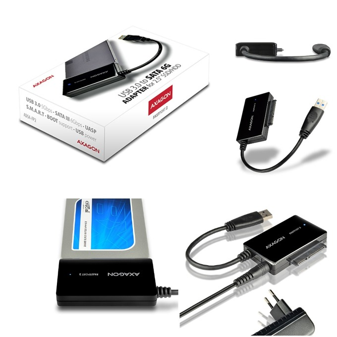 "Преходник AXAGON ADSA-FP2, поддържа 2.5"" HDD/SSD, от USB 3.0 към UASP/SATA 6G, черен image"