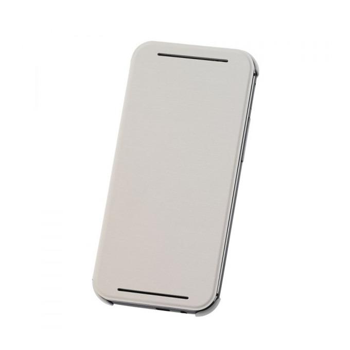 Калъф за HTC One 2 (M8), отваряем, кожен, HTC flip case, бял image