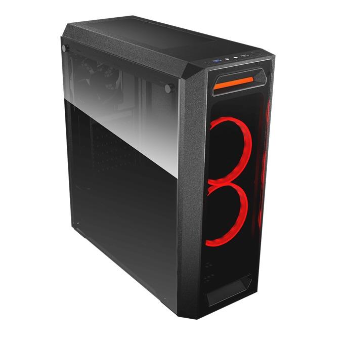 Кутия Cougar MX350, ATX/mATX/Mini-ITX, 1x USB 3.0, страничен и преден прозорец от закалено стъкло, черна, без захранване image