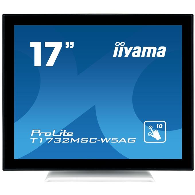 """Монитор Iiyama T1732MSC-W5AG, 17""""(43.18 cm), TN LED тъч панел, SXGA, 5ms, 215 cd/m2, HDMI, DisplayPort, VGA, бял image"""