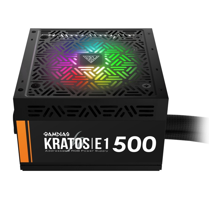 Захранване Gamdias KRATOS E1-500, 500W, Active PFC, 80 Plus, 120 mm RGB вентилатор image