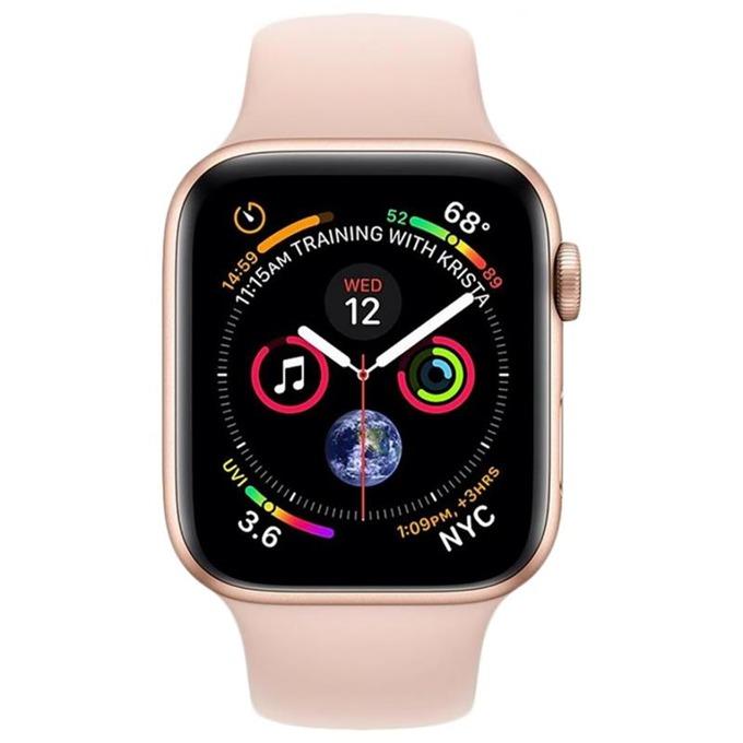 Смарт часовник Apple Watch S4 44mm, OLED дисплей, водоустойчив, силиконова каишка, розов image