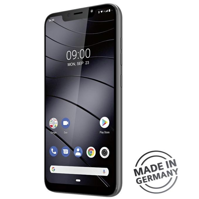 "Смартфон Gigaset GS195 (сив), поддържа 2 sim карти, 6.18"" (15.70 cm) IPS FHD+ дисплей, осемядрен Spreadtrum SC9863A 1.6 GHz, 2GB RAM, 32GB Flash памет (+ microSD слот), 13+5 & 8 MPix камера, Android 9.0, 180g image"