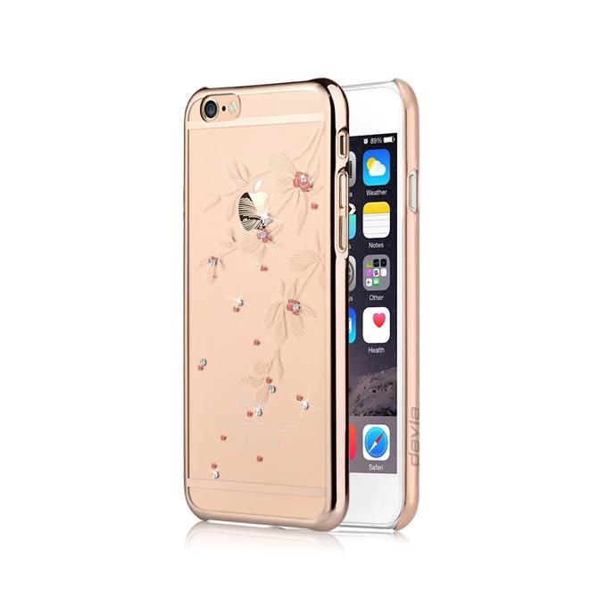 Калъф за Apple iPhone 6/6S, страничен протектор с гръб, поликарбонат, Devia Flowery Case, с кристали Сваровски, златист image